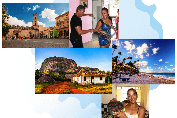 Collage de CubaNeo Travel. Agencia de viajes a Cuba